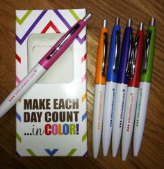 how cute would these 6 colored ballpoint pens, in their darling laminated carrying case be as a gift topper?