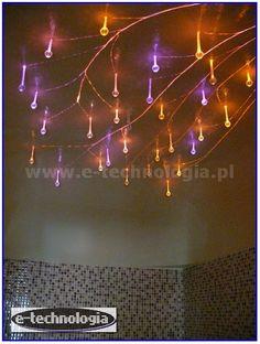 gwieździste niebo w saunie oświetlenie sufitowe w saunie lampy w saunie