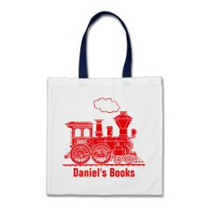 Red train kids named id library tote bag  Click on photo to purchase. Check out all current coupon offers and save! http://www.zazzle.com/coupons?rf=238785193994622463&tc=pin