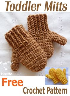 Crochet Baby Mittens Keep those little one's fingers warm with this FREE crochet pattern for toddler mitts. Toddler Mittens, Crochet Baby Mittens, Crochet Mittens Free Pattern, Crochet Beanie, Free Crochet, Knit Hats, Diy Crochet Gloves, Crochet Owls, Booties Crochet