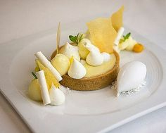 Key lime tart mango glass coconut whipped ganache coconut sorbet passion fruit foam coconut meringue for tasting by Elegant Desserts, Beautiful Desserts, Fancy Desserts, Delicious Desserts, Yummy Food, Gourmet Recipes, Dessert Recipes, Gourmet Desserts, Food Plating Techniques