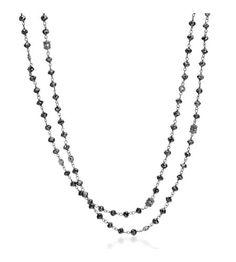 Penny Preville - Black Diamond Collection 18KT White Gold Black Diamond Bead Necklace