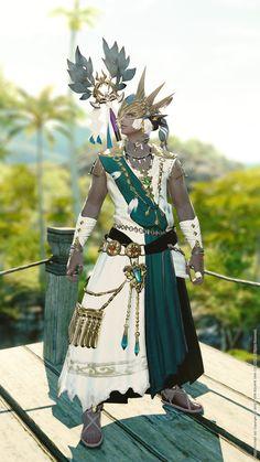 お気に入りのID産武器&頭装備がポイントです。 特にサリャク・ヒーラーバンダナを普段なかなか 見かけない気がするので、なんとか この機会に捻じ込めないかと考えました。 珍しいテイストに仕上がったかなとは。 Character Creation, 3d Character, Character Outfits, Character Concept, Character Design, Game Costumes, Final Fantasy Xiv, Character Illustration, Fantasy Characters