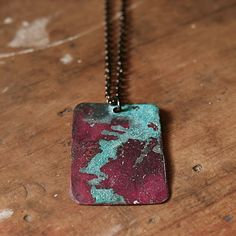 Copper metal rustic verdigris pendant on dark chain holiday gift under 50 stocking stuffer necklace. $35.00, via Etsy.