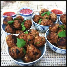 thai meatballs with sweet & spicy dipping sauce
