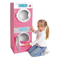 Kids, Toddlers, Interactive Pretend Play Toy Stackable Washer & Dryer Set w Realistic Timer - kidzworld Little Girl Toys, Cool Toys For Girls, Disney Princess Toys, Stackable Washer And Dryer, Baby Doll Accessories, Laundry Room Storage, Lol Dolls, Pretend Play, Kids Toys