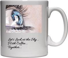 Mavi Göz Çizimi Bardak Kendin Tasarla - Beyaz Kupa