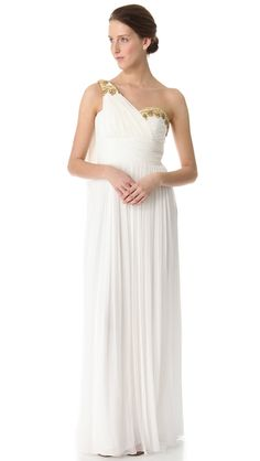 This gown is so perfect for a grecian theme #wedding! Marchesa Notte One Shoulder Gown from http://shopbop.com  Photo Credit: http://shopbop.com