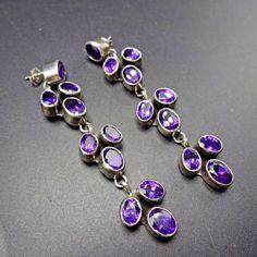 Signed Vintage NAVAJO Sterling Silver & Purple AMETHYST EARRINGS Geneva Apachito