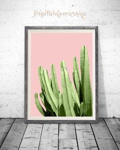 Pink Cactus Print Cactus Art Pink and Green by DigitalRomashka