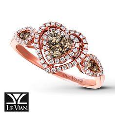 LeVian Chocolate Diamonds 1/2 ct tw Ring 14K Strawberry Gold