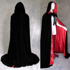 New Stock Black Hooded Cloak Lined Red Silk Halloween Velvet Cape S M L XL XXL