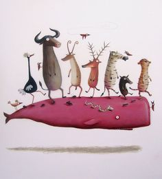 """Joao Vaz de Carvalho. Animals. Portuguese. Art. illustration """"INVASÃO DA CASA…"""