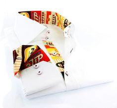 Claudio Lugli men's white shirt w. retro logo print  http://claudioluglishirts.com/