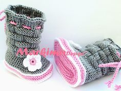 The baby shoes Krabbelschuhe baby boots are knitted without seams and crocheted . The baby shoes Krabbelschuhe baby boots are knitted without seams and crocheted with crocheted flower and . Crochet Baby Boots Pattern, Crochet Cow, Baby Shoes Pattern, Baby Hat Patterns, Booties Crochet, Baby Booties, Baby Converse, Baby Hats Knitting, Baby Slippers