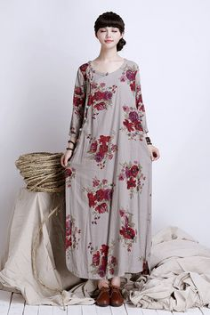 Folk clothing ,side cardigan with bracelet sleeve,linen maxi dress,plus size maxi dress, loose fitting dress