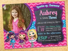 Little Charmers Inspired Birthday Party Photo Invitation - Customizable - Printable - DIY by Owen & Sally Designs