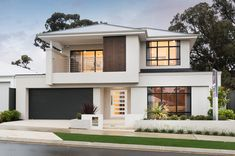 37 Stunning Contemporary House Exterior Design Ideas You Should Copy - Today, contemporary house plans are very intelligently designed to give utmost comfort to the people. These plans not only feature flexible floor spac. 2 Storey House Design, Two Storey House, House Front Design, Modern House Design, Design Exterior, Contemporary House Plans, Modern Bungalow, Storey Homes, Dream House Exterior