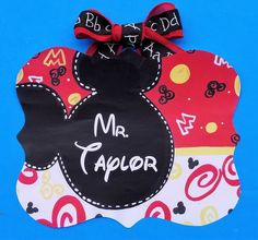 Approximately wooden teacher sign. Original design transferred by decoupage onto wood with glossy sealer. Please add teacher name to notes section of order. Disney Classroom, Classroom Signs, Art Classroom, Classroom Themes, Teacher Name, Hand Painted Walls, Hand Painted Canvas, Mouse Silhouette
