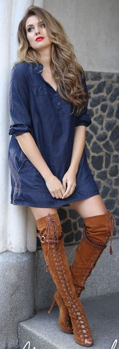 Camel Suede Lace Up O T K B Navy Tunic Dress Fall Inspo by Mungolife fall 2015 need -to- be trend. T