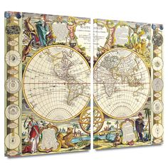 'Mappe-Monde Carte Universelle de la Terre Dressee' by Dunn 2 Piece Painting Print Gallery-Wrapped on Canvas Set