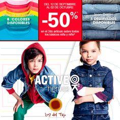 Hasta el día 2 de Octubre, consigue un 50% de descuento en el segundo artículo.  ¡Los niños estarán más trendy que nunca!  Okaïdi Luz Del Tajo, Toledo
