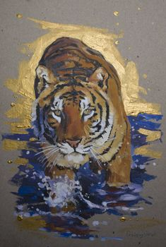 Golden tiger Painting by Oleksii Gnievyshev Tiger Drawing, Tiger Painting, Tiger Art, Acrylic Painting Animals, Watercolor Tiger, Animal Paintings, Animal Drawings, Cardboard Painting, Golden Tiger