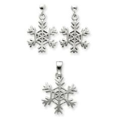 Sterling Silver Snowflake Earrings And Pendant Set West Coast Jewelry. $73.95