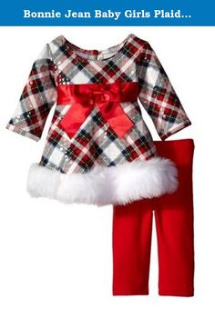 Bonnie Jean Baby Girls Plaid Fit Faux Trim Holiday Pant Set 0-3 months. How cute is she! This plaid top features red high waist bow and white faux trim and red legging complete this adorable Holiday Pant Set!.