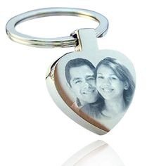 Personalised Metal Silver Heart Keyring Keychain PHOTO & TEXT ENGRAVED