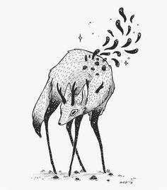 Inktober Art Inspiration & Ideas by Faunwood Creature Drawings, Animal Drawings, Dark Art Drawings, Cute Drawings, Mononoke, Character Art, Character Design, Deer Art, Arte Sketchbook