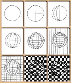 Op art, also known as optical art, is a style of visual art that uses optical illusions. Op art works are abstract, with many better-known pieces created in black and white. Op Art Lessons, Drawing Lessons, Drawing Step, Contour Drawing, Drawing Projects, Doodle Patterns, Zentangle Patterns, Zentangles, Zentangle Animal