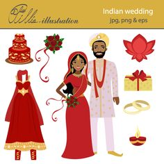 Indian wedding set comes with 8 cliparts including beautiful Indian couple getting married, Indian style wedding cake, bridal bouquet,   traditional indian wedding dress, lotus flower, sacred fire, 2 golden rings and gift box.
