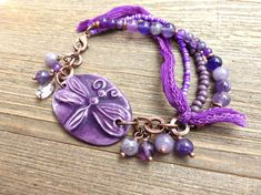 Purple ceramic dragonfly, amethyst purple stones, copper metal and silk ribbon bracelet. - Andria Bieber Designs, Bracelet - Jewelry, McKee Jewelry Designs - Andria Bieber Designs