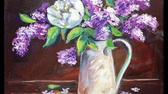 How to Paint Lilacs in Vase by Ginger Cook Beginners Acrylic Painting Tu...