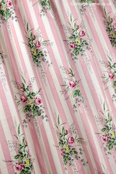 Vintage Home – Sanderson's Rose and Ivy Pink Stripe Fabric: www.vintage-ho… Vintage Home – Sanderson's Rose and Ivy Pink Stripe Fabric: www.vintage-home…. Beige Curtains, Purple Curtains, Luxury Curtains, Shabby Chic Curtains, Cheap Curtains, Drop Cloth Curtains, Floral Curtains, Velvet Curtains, Colorful Curtains