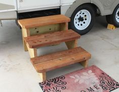 Custom Stairs - Free Standing Stairs designed for Travel Trailers, Stages, Decks and more. Patio Stairs, Patio Railing, Dog Stairs, Flooring For Stairs, Outdoor Stairs, Wooden Stairs, Patio Roof, Deck Steps, Wood Steps