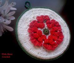 PINK ROSE CROCHET : Pega Panelas de Natal com Ponto Flor