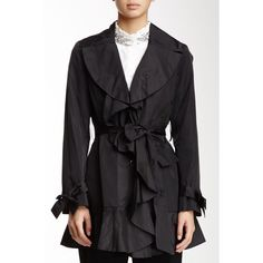 Cole Haan Belted Ruffle Jacket Coat In Black New