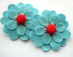 aqua and red flowers.
