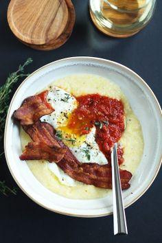 Polenta, Egg, Arrabiata & Bacon | 33 Cuddly And Delicious Beds Of Polenta