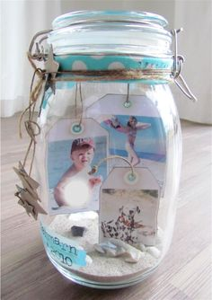 "A ""beach jar"" Beach Memory Jars, Beach Jar, Mason Jar Crafts, Mason Jar Diy, Bottle Crafts, Seashell Crafts, Beach Crafts, Diy Craft Projects, Diy Crafts"