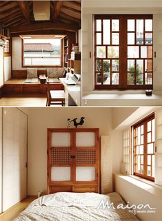 Experimenting with wood -- Unique window patterns outlined by wood, matched perfectly with white and the paper-like surface of the closet. Japan Interior, Japanese Interior Design, Modern Japanese Architecture, Style At Home, Asian House, Paint Colors For Living Room, Japanese House, Traditional House, Korean Traditional