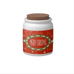 White #Christmas Stars Red Sky Candy Jar #zazzle #gifts