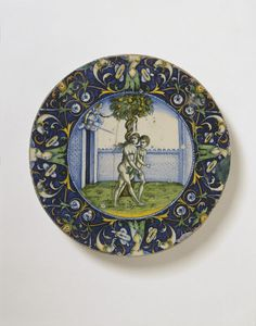 Fragment of a dish depicting Expulsion from the Garden of Eden, made in Faenza, Italy, about 1525, tin-glazed earthenware