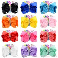 "8/"" Girls Kids Shiny Hair Bows Metallic Bowknot Hairgrips Hairpin Clips Headwear"