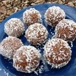 Almond Pulp Mac­a­roon Balls:  1½ c almond meal...1 c shred­ded coconut...¼ c flax seeds...¼ t sea salt...  ½ c yacon syrup...½ c raw almond but­ter...  In a bowl, mix together dry ingre­di­ents.  Add yacon syrup and almond but­ter.  Mix together well.  Using your hands, or ice cream scoop, form mix­ture into balls,  place on oiled or parch­ment lined cookie sheet and  refrig­er­ate for 30 min­utes.