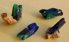 4 pcs Blue crystal azurite with malachite from Morocco  53 ct