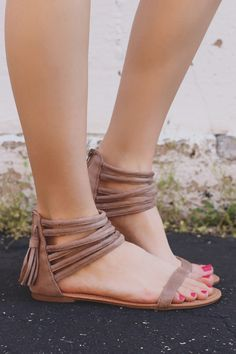 Taupe Strappy Caged Ankle Faux Suede Sandals Archer-166