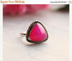 Fuschia Pink ring  Pink chalcedony Drop ring  by Studio1980